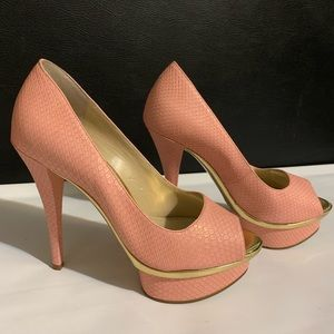 Enzo Angiolini Faux Pink Snakeskin Print